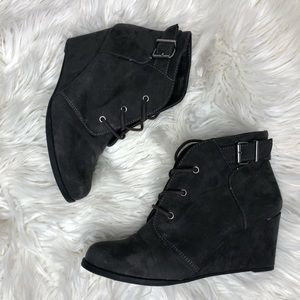 Gray Suede Wedge Ankle Booties Size 9.5